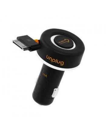 Unplug CCU1000IPH Compact iPod iPhone 4 4S 30Pin Fast 1A Car Charger with Rewind Cable