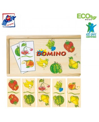 Woody 90100 Eco Wooden Educational Domino Fruits (28pcs) for kids 3y+ (19x10cm)