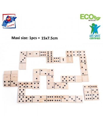 Woody 91413 Eco Wooden Educational and Fun Garden MAXI domino game (28pcs) for kids 3y+ (15x7.5cm)
