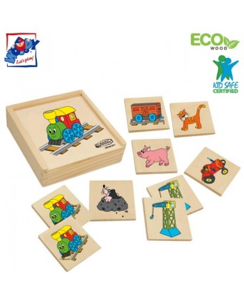 Woody 93002 Eco Wooden Educational Memory game - Happy engine (36pcs) for kids 3y+ (16x16cm)
