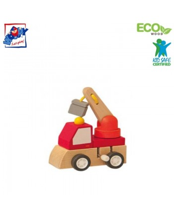 Woody 91000 Eco Wooden Educational Red Clockwork construction machine for kids 3y+ (7x5x6.5cm)