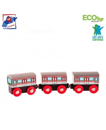 Woody 91851 Eco Wooden Educational Magnetic Metro train (3pcs) for kids 3y+ (21.5cm)