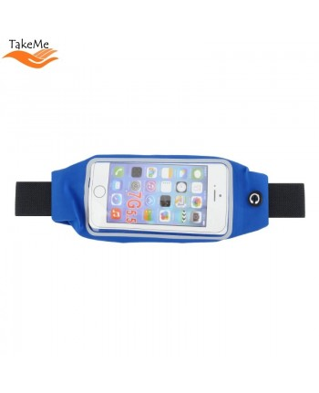 TakeMe Multifunciton Universal waist bag with window for Fitness & Running (15.5x8cm) Blue