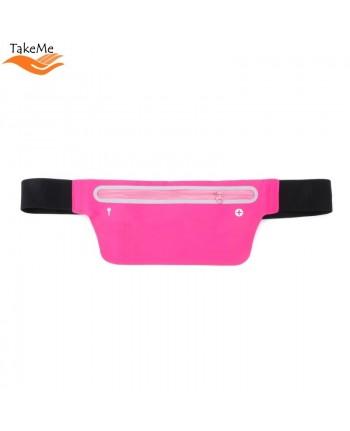TakeMe Multifunciton Universal ultra thin waist bag with key pocket for Fitness & Running (15.5x10cm) Pink