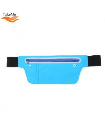 TakeMe Multifunciton Universal ultra thin waist bag with key pocket for Fitness & Running (15.5x10cm) Light blue
