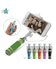 HQ X6-G Pocket Selfie Stick 55cm Telescopic - Mini Monopod with wired cable and Shutter Button Green