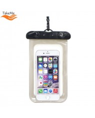 TakeMe Universal Waterproof Slim Case with strap (10x16.5cm) for mobile devices till 6 inch screen Black