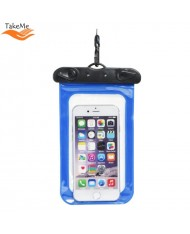 TakeMe Universal Waterproof Slim Case with strap (10x16.5cm) for mobile devices till 6 inch screen Blue