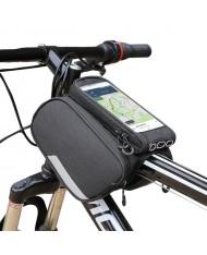 Wozy 7BK 3-Part Waterproof Bicycle Front Frame Top Bag with Phone 6.5'' max Holder 1.5L Black