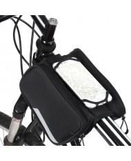 Wozy 14BK 3-Part Waterproof Bicycle Front Frame Top Bag with Phone 6.5'' max Holder 1.5L Black