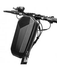 Wozy 2SBK Carbon Hard Shell Waterproof electric & standart scooter handlebar zipper bag 4L Black
