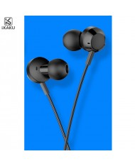 iKaku Kongling Universal In-Ear Music and Calls Headset 3.5mm 1.2m Cable with Microphone and Remote Black