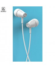 iKaku Erman Universal In-Ear Music and Calls Headset 3.5mm 1.2m Cable with Microphone and Remote White