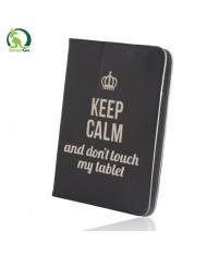 """GreenGo Universal 7-8"""" Tablet PC Eco Leather Book Case with Stand Keep Calm"""