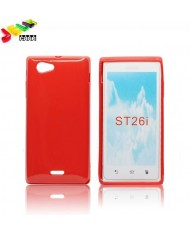 Forcell Jelly Back Case Sony ST26i Xperia J silicone case Red