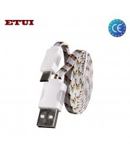 Etui Super Flat Wired 1m Led Flashing Light Universal Micro USB Cable White