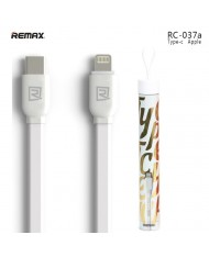 Remax Universal Flat & Soft Silicone Type-C to Lightning Data & Charger Cable 1m White