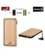 Tel1 B12 Power Bank 12000mAh External Battery Micro USB / USB 5V 1A/2.1A Port Gold