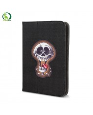 "GreenGo Universal 7-8"" Tablet PC Eco Leather Book Case with Stand Crazy Skull 2"