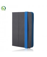"""GreenGo Universal 7-8"""" Tablet PC Eco Leather Book Case with Stand Black/Blue"""