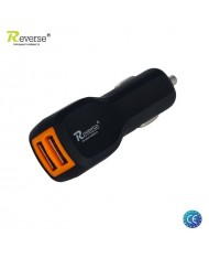 Reverse MT-C225 Universal 2.1A / 1A 5V Dual USB Plug Car 12V/24V Charger (Tablet PC/Mobile Phone) Black