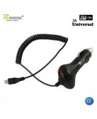Reverse MT-C251-2C Universal 2A 5V Micro USB Cable 1.2m 12V/24V Car Charger (Tablet PC/Mobile Phone) Black