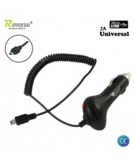 Reverse MT-C251-2 Universal 2A 5V Mini USB 5pin Cable 1.2m 12V/24V Car Charger (Tablet PC/Mobile Phone) Black