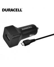 Duracell Universal 2.4A Single USB Plug Car 12V-24V DC 5V Fast Charger + Micro USB Cable 1m Cable Black