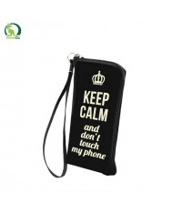 GreenGO Flexi Zipper pouch Universal (17x9.5cm) Keep calm and don't touch my phone Black
