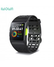 iWOWN P1 GPS Fitness Tracker - 2in1 Heart Monitor and Smart Watch Blacelet Color Display & Touch Panel Black