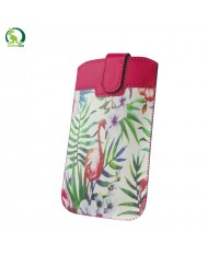 GreenGO Sim Up Flamingo Universal (9,5x16cm) Eco Leather pouch with strap Rose/Green