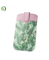 GreenGO Sim Up Plant Universal (9,5x16cm) Eco Leather pouch with strap Light rose/Green