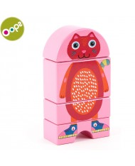 Oops Cat Wooden Magnetic Puzzle for kids from 12m+ (Box size 16x3.4x11cm) Pink 16007.21