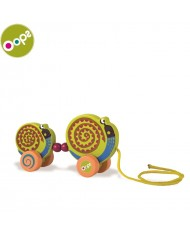 Oops Snail Wooden Pulling Toy for kids from 12m+ (15.8x5.5x25.2cm) Colorful 17005.13