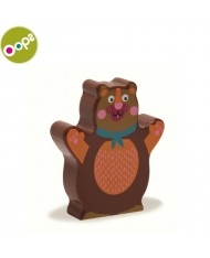 Oops Bear Wooden Rattle Toy for kids from 6m+ (13.5x2.2x18.5cm) Brown 13008.11
