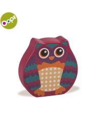 Oops Owl Wooden Rattle Toy for kids from 6m+ (13.5x2.2x18.5cm) Pink 13008.12