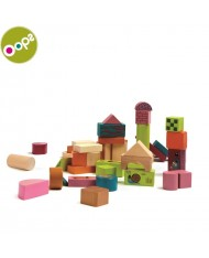 Oops Wooden Blocks (50 pcs) Toy for kids from 12m+ (Ø18x18cm) Colorful 16001.00
