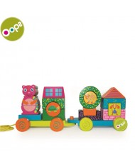 Oops City Train Wooden Pulling Toy (19 pcs) for kids from 12m+ (26x17x11cm) Colorful 17001.00