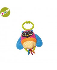 Oops Owl Soft Pendant Rattle Toy with plastic elements for kids from 0m+ (26.5x5x12cm) Colorful 11011.12