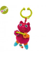 Oops Cat Soft Pendant Rattle Toy with plastic elements for kids from 0m+ (26.5x5x12cm) Colorful 11011.21
