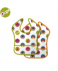 Oops Plastic Bibs (2 pcs) for kids from 4m+ (36.5x2x25cm) Colorful 62002.10