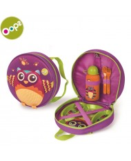 Oops Owl Winkling Lights Backpack with Weaning Set (4 pcs) for kids from 12m+ (27x32x9cm) Violet 19011.12