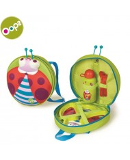 Oops Ladybug Winkling Lights Backpack with Weaning Set (4 pcs) for kids from 12m+ (27x32x9cm) Green 19011.33