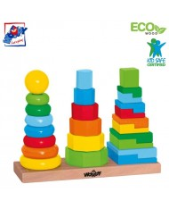 Woody 90836 Eco Wooden Educational color stacking pyramids - towers set constructor (25pcs) for kids 3y+ (28x9x21cm)