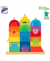 Woody 90235 Eco Wooden Educational Rainbow stacking constuctor house (27pcs) for kids 2y+ (26x23cm)
