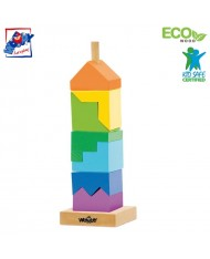Woody 91102 Eco Wooden Educational color stacking tower constructor (9pcs) for kids 2y+ (9x26cm)