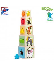 Woody 95005 Eco Wooden Educational Stacking and nesting blocks with picture and number sorting shape (10pcs) for kids 3y+ (10.6x41cm)