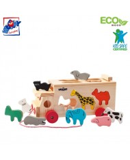Woody 91199 Eco Wooden Educational Animals shapes with sorting car-box on wheels with pull strap (10pcs) for kids 2y+ (29x24cm)