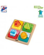 Woody 91145 Eco Wooden Educational Shape sorting puzzle - house & fun (12pcs) for kids 2y+ (14.3x14.3x4cm)