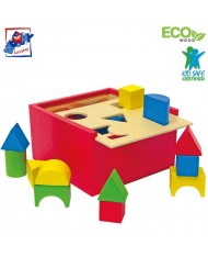 Woody 90001 Eco Wooden Educational color shape sorting box constructor (20pcs) for kids 2y+ (16x16cm)